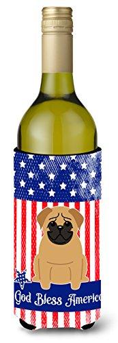 Carolines Treasures BB3002LITERK Patriotic USA Pug Brown Wine Bottle Beverge Insulator Hugger  Wine Bottle multicolor