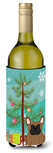 Carolines Treasures BB4138LITERK Merry Christmas Tree French Bulldog Brown Wine Bottle Beverage Insulator Hugger 750ml Multicolor