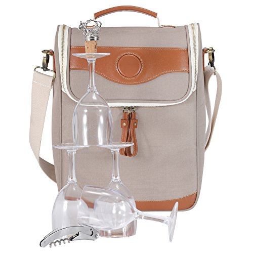 INNOSTAGE 3-bottle Wine Carrier Bag Champagne Carrying Tote Bags Picnic Cooler Insulated Travel Wine Case 4pcs Acrylic Glasses 1 Corkscrew 1 stopper Beige