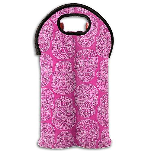 Pink Skulls 2-Bottle Wine Carrier Tote Bag Traveling WineWater Bottle Handbag With Carry Handle Two Bottle Drinks Beer Holder