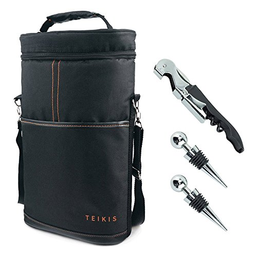 Teikis 2-Bottle 4 Pieces Wine Bag Tote Carrier for Travel - with Bottle Opener Wine Stoppers All-In-One Corkscrew