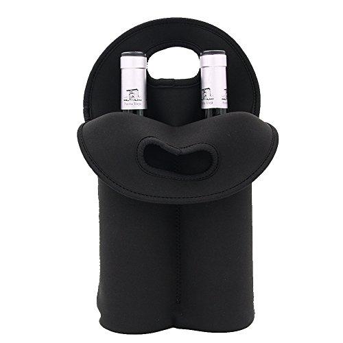 Luckiplus 2 Bottle Insulated Neoprene Wine Carrier Tote Bag Water Bottle Holder 2 BottleBlack