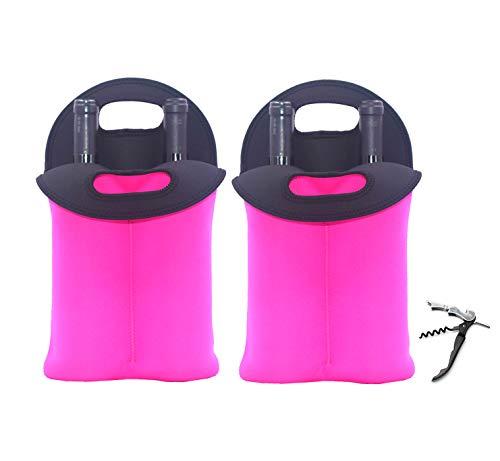 Neoprene Wine Bottle Carrier Tote Bag for 2 Bottles for ChampagneWineBeerSodaCider Bottle Opener Knife2 Fuchsia