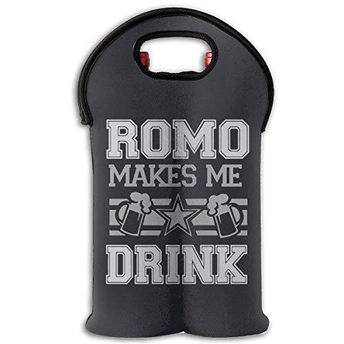 Romo Makes Me Drink Wine Carrier Tote Bag Durable Funny Text Graphic Neoprene Wine Carrier Bag Champagne Bottles Protective Travel Bag Geometric Stylish Bottle Holder For Safe Transportation