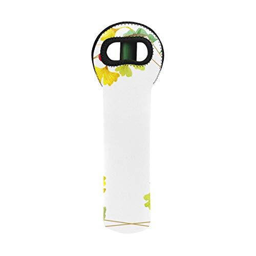 Wine Bag For Travel Green Ginkgo Biloba Floral Botanical Flower Bottle Protect Tote Custom 435 X 1535 Inch Neoprene Wine Carrier 1 Bottle