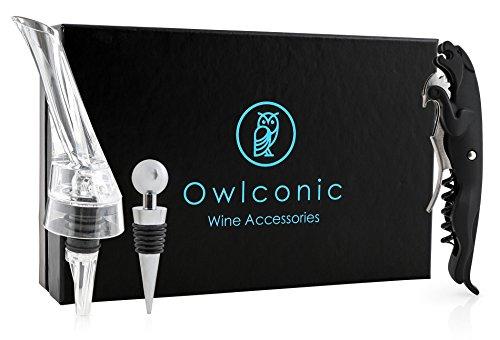 Deluxe Wine Opener Kit  Stylish Aerator Pourer Stopper Wine Key with Foil Cutter Set  Classy Black Stainless Steel Wine Accessory Gift Trio  Sleek Wine Corkscrew Bottle Opener Sets
