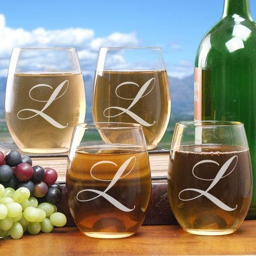 Engraved Initial Stemless Wine Glass Set of 4 21 oz