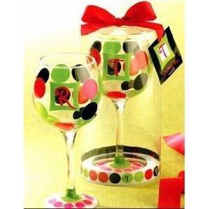 Mud Pie Initial Wine Glass B