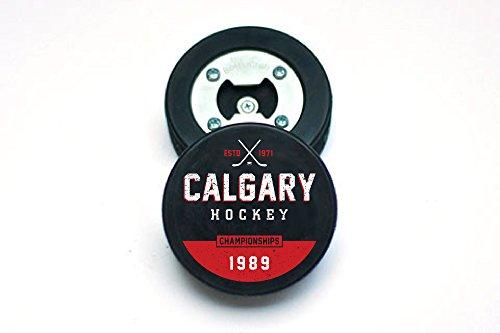 The PuckOpener - Hockey Puck Bottle Opener - Calgary Champs