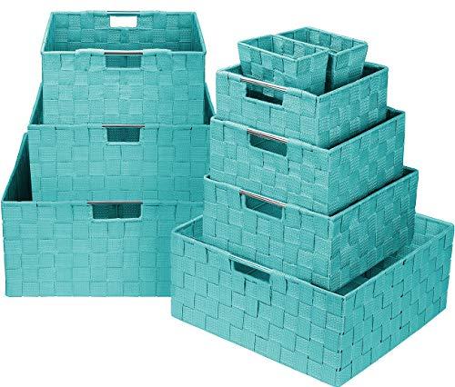 Sorbus Storage Box Woven Basket Bin Container Tote Cube Organizer Set Stackable Storage Basket Woven Strap Shelf Organizer Built-in Carry Handles Aqua