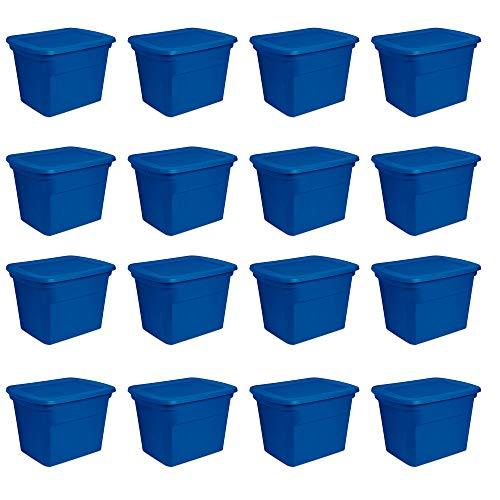 Sterilite 18 Gallon Plastic Stackable Storage Tote Container Box Blue 16 Pack