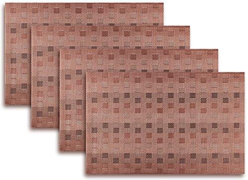 Placemat Set of 46 Reversible Monogram PlaidCheck Kitchen Table Decor Woven Vinyl Table Placemats Set Home Dinner Decorative by Secret Life 4 Brown