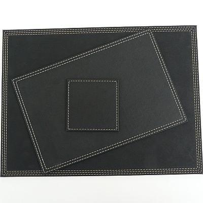 Denby 30 x 20 cm Faux Leather Placemat Set Set of 4 Black