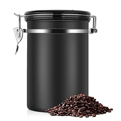 Large Airtight Coffee Container Stainless Steel Black Kitchen Sotrage Canister for Coffee GoundsNutsSugar Keep Flesh22 OZ