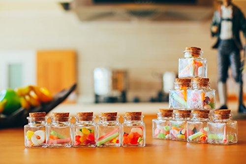 JingleBells Mini Square Glass Jar with Cork LidPack of 12