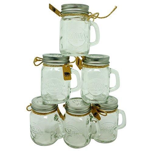Smiths Mason Jars Mini Mason Jar Shot Glasses set of 6 Shot glasses 120 ml each great gift tag Wedding Favors Mason Jar Sand and Pepper shakers shots you name it