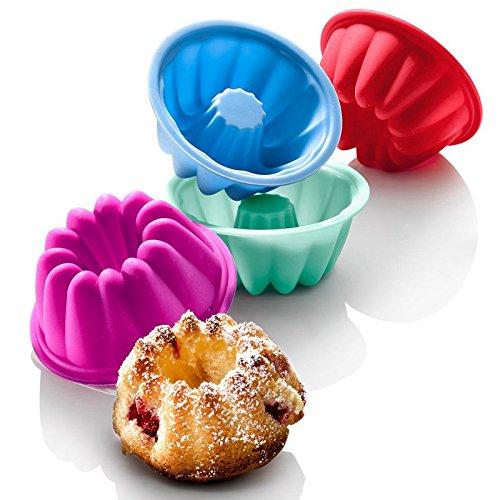 Astra shop Fancy Mini Silicone Dessert Mold Stackable Bundt Pan Swirl Jello Mini Cake Mould 3 inch8 Pack
