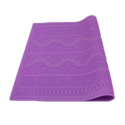 Xgunion Flower Pattern Silicone Mat Fondant Cake Lace Embossed Cake Mold Mould Purple