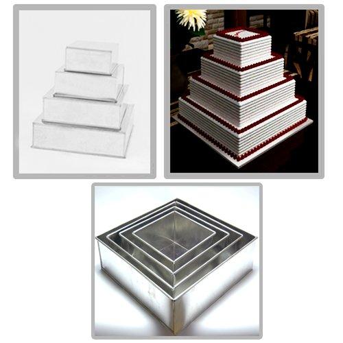 Square Multilayer Wedding Birthday Cake Baking Pan Set of 4 Cake Tins 4 Deep
