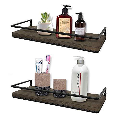 Minggoo Floating Shelves Wall Mounted Set of 2 Rustic Wood Wall Storage Shelves for BedroomLiving RoomBathroom Kitchen