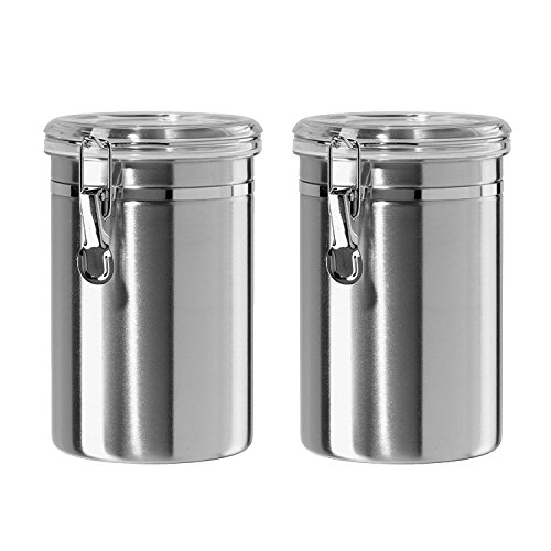 Canister Set Stainless Steel - Beautiful Canisters for Kitchen Counter 32oz Small with Airtight Lids Food Storage Container Tea Coffee Sugar Canisters by SilverOnyx - Small 32oz - 2 Piece