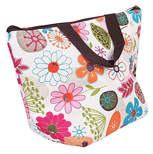 JASSINS Waterproof Picnic Insulated Fashion Lunch Cooler Tote Bag Travel Zipper Organizer BoxA70-Flower