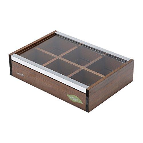 WOODART Wooden Tea Box- Tea Bag Organizer Tea Chest Tea Storage 6 compartments with lid