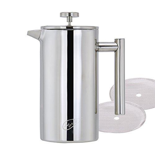 Meelio 1 Liter 188 Double Wall Stainless Steel Coffee French PressTea Maker 8 Cup 4 Mug34OZ