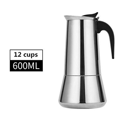 XXDMZ Stovetop Espresso Maker Moka Pot European Style Espresso Maker Moka Coffee Pot Stainless Steel304 Latte Percolator with 12Cups600 Milliliter Cappuccino Cafe Pot Style 02600ml