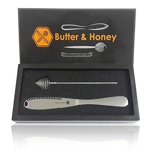 Butter Knife & Honey Dipper, 403 Stainless Steel Food Grade, Butter Spreader And Butter Curler As Magic Knife,