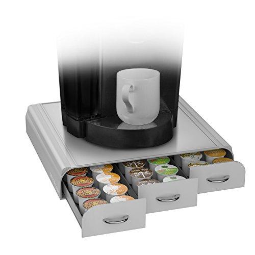 Mind Reader Anchor Triple Drawer Single Serve Coffee Pod Holder Grey