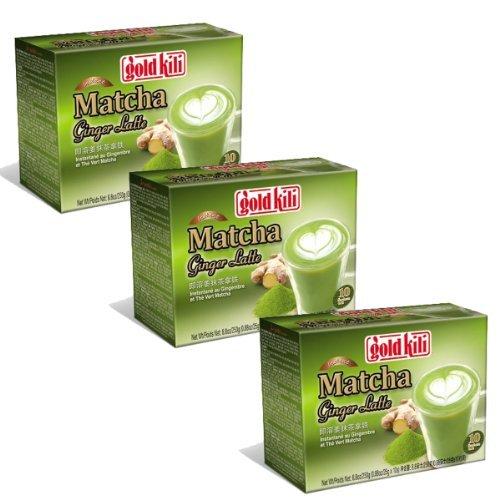 Gold Kili Instant Matcha Green Tea Ginger Latte Pack of 3 30 Packets