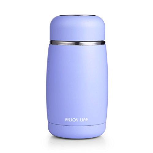 HOLD U FUN 250ml Cute Stainless Steel Vacuum FlaskMini Insulated Water BottleTravel Coffee Mug Thermos For Kids&GirlsLeak Proof Tumbler Blue