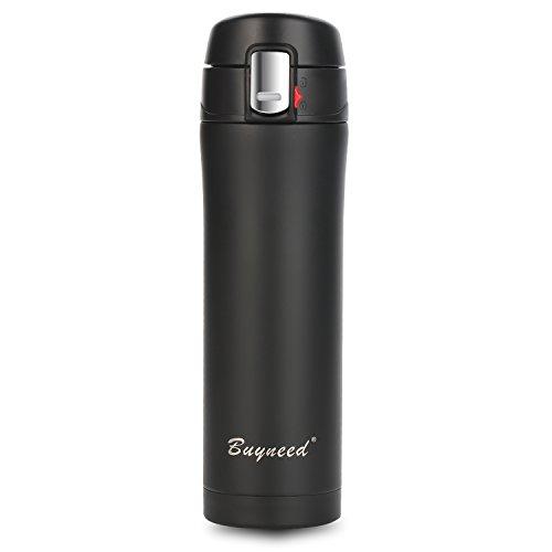 Insulated Stainless Steel Vacuum Flask Travel Coffee Mug 16oz Double Walled Leak Proof Beverage Thermos BottleBlack