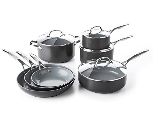 GreenPan CC000675-001 Valencia Pro Hard Anodized 100 Toxin-Free Healthy Ceramic Nonstick Metal Utensil DishwasherOven Safe Cookware Set 11pc Grey