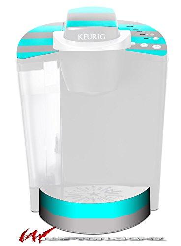 Psycho Stripes Neon Teal and Gray - Decal Style Vinyl Skin fits Keurig K40 Elite Coffee Makers KEURIG NOT INCLUDED