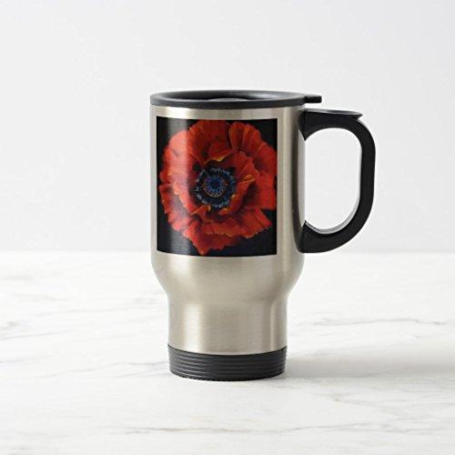 Zazzle Red Poppy Ceramic Mug Stainless Steel TravelCommuter Mug 15 oz