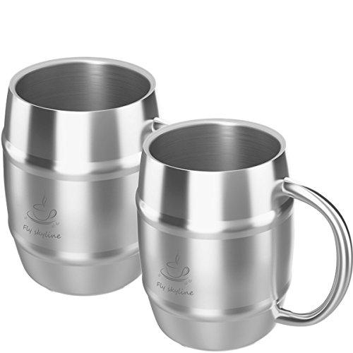 Coffee Mug Double Wall Stainless Steel Insulated Coffee Beer Barrel Shape Mugs Set of 2
