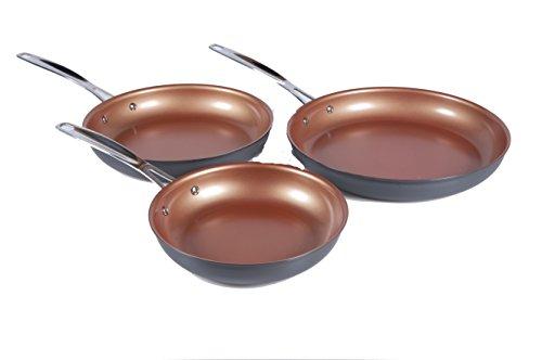 NuWave Durlon Cookware Hard Anodized Aluminum Fry Pans Set of 3