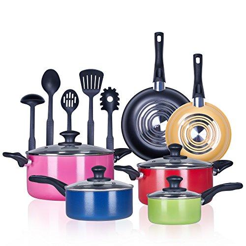 Pots and Pans 15 Piece Performance 3 Layer Nonstick Cookware SetHeavy Gauge and DurableEven Heat Distribution-inc5 FDA Grade Nylon Utensils-by COOKSMARK