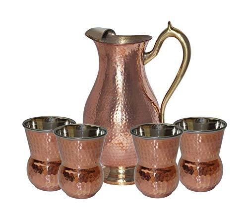 HandicraftworldArt Stainless Steel Ayurveda health healing Drinkware Water Pitcher Jug With 4 Serving Tumbler Glasses Set