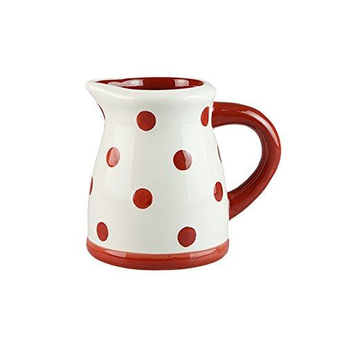 CHOOLD Red Polka Dot Ceramic Creamer with HandleCoffee Milk Creamer PitcherServing PitcherSauce PitcherMilk Creamer Jug for Kitchen 17oz