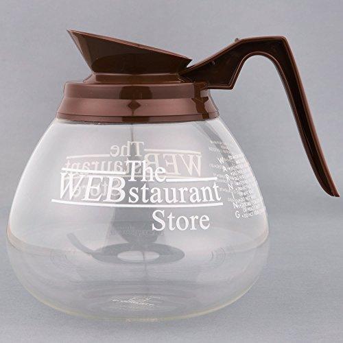 WebstaurantStore Logo 64 oz Glass Coffee Decanter with Brown Handle