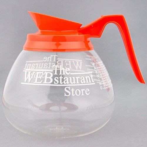 WebstaurantStore Logo 64 oz Glass Coffee Decanter with Orange Handle