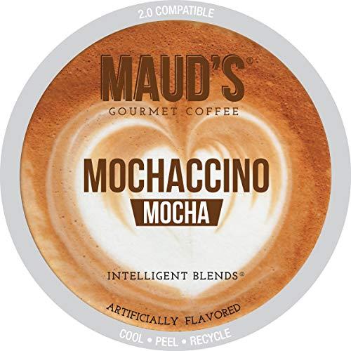 Mauds Mocha Cappuccino Coffee Mochaccino 50ct Recyclable Single Serve Dark Roast Espresso Coffee Pods - 100 Arabica Coffee California Roasted Keurig Mocha Cappuccino K Cups Compatible