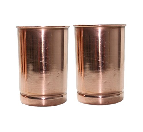 Global Mart Pure Copper Water Tumbler Glasses for Healing Ayurvedic Product Set of 2