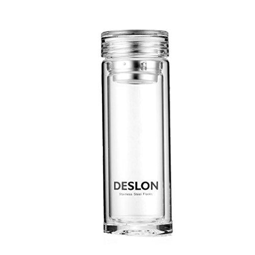 DESLON Double Glass Filter Water Bottle Heat Resistant for Men Glass Coffee Travel Mug 10 oz Office Use