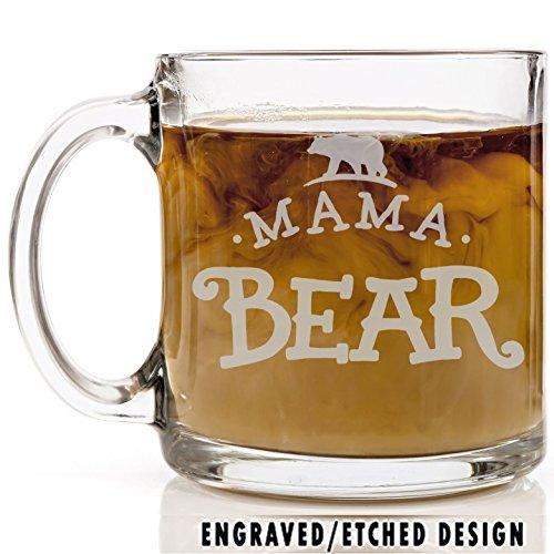 Shop4Ever Mama Bear Novelty Glass Coffee Mug Tea Cup Gift ~ Mothers Day ~ 13 oz Engraved