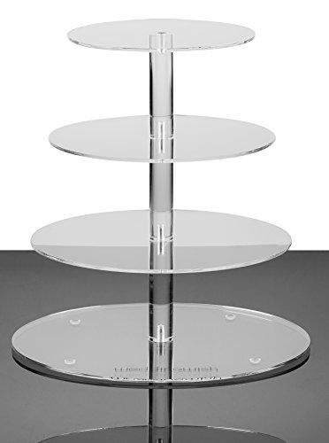 weddingwish 4 Tier Round Cake Stand - Plastic Acrylic Cupcake Stand - Clear Tabletop Serveware - 1 Unit  Carton 4 Tier RoundMedium