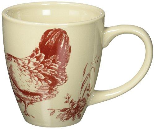 BonJour Dinnerware Chanticleer Country 4 Piece Stoneware Mug Set Red